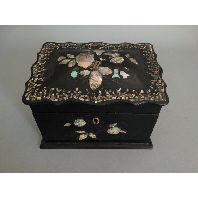 Lacquer 19th-C. English Papier Mache Mother-Of-Pearl Box For Sale - Image 7 of 7