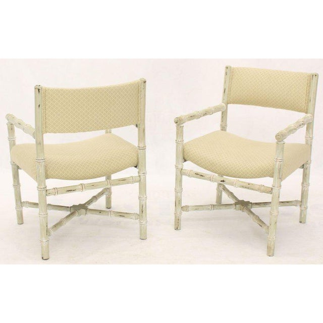 Off-white Pair of Distressed Finish Faux Bamboo Capitan Chairs With X Bases For Sale - Image 8 of 13