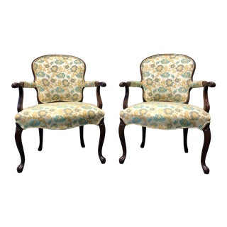 Vintage French Provincial Louis XV Style Fauteuils - A Pair