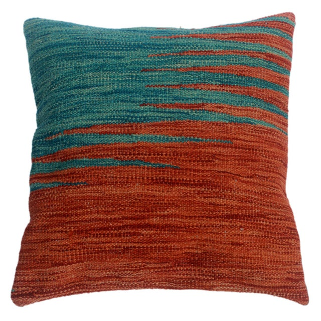 """Despina Rust/Blue Hand-Woven Kilim Throw Pillow(18""""x18"""") For Sale In New York - Image 6 of 6"""