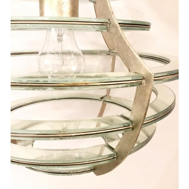 Modern Modern Currey & Co. Mirrored Cascading Silver Disc Lantern For Sale - Image 3 of 5