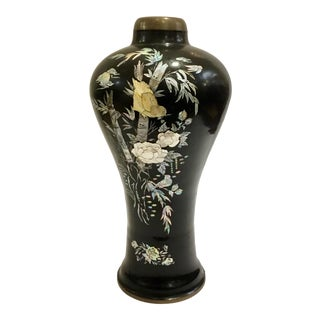 Antique Asian Bronze and Mother of Pearl Vase For Sale