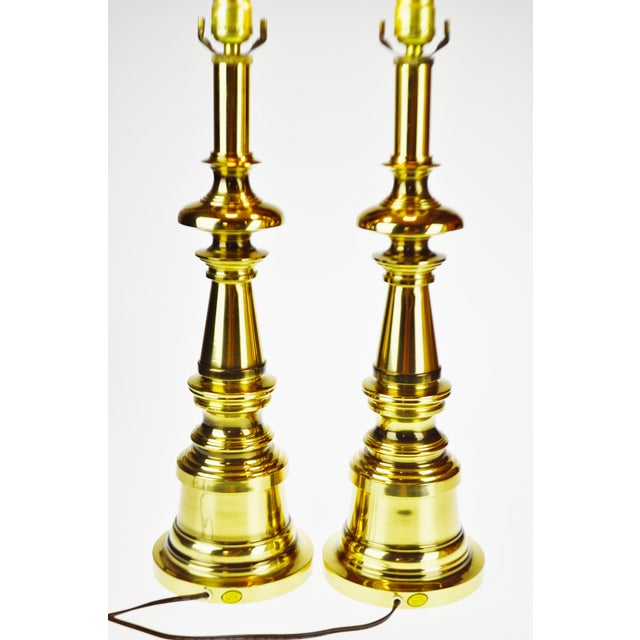 Metal Vintage Brass Candlestick Table Lamps - a Pair For Sale - Image 7 of 13