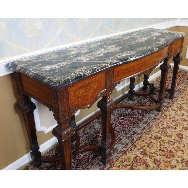 Italian Rococo Carved Mahogany Marble Top Console - Image 6 of 10