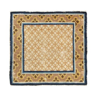 Antique Traditional Blue and Brown Geometric-Floral Wool Rug For Sale