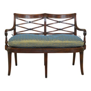 Theodore Alexander Regency Style Mahogany Double Settee For Sale