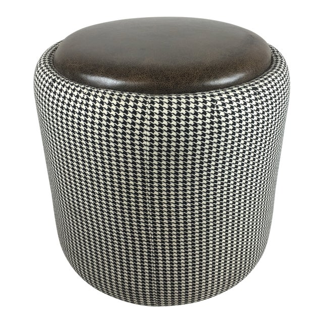 Lily Jack Leather Ottoman With Houndstooth Upholstery For Sale