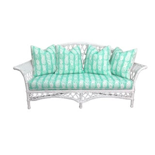 Vintage Wicker Loveseat in White Lacquer With Cushion Pillows in Aqua Pineapple For Sale