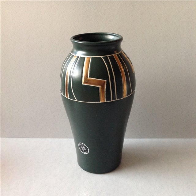 Green and Gold Art Deco Pottery Vase For Sale - Image 11 of 11