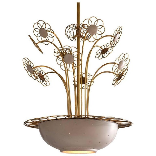 Elegant Floral Chandelier by Paavo Tynell, 1950s For Sale - Image 9 of 9