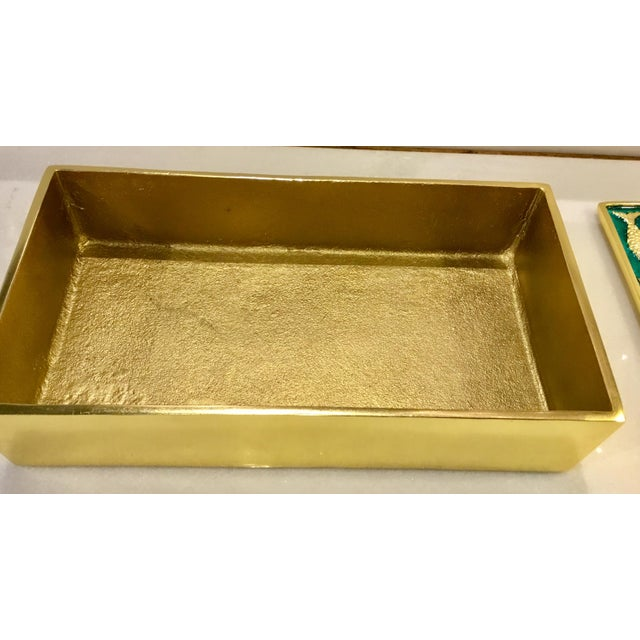 Modern Gold Fish on Turquoise Metal Sea Box For Sale - Image 4 of 5