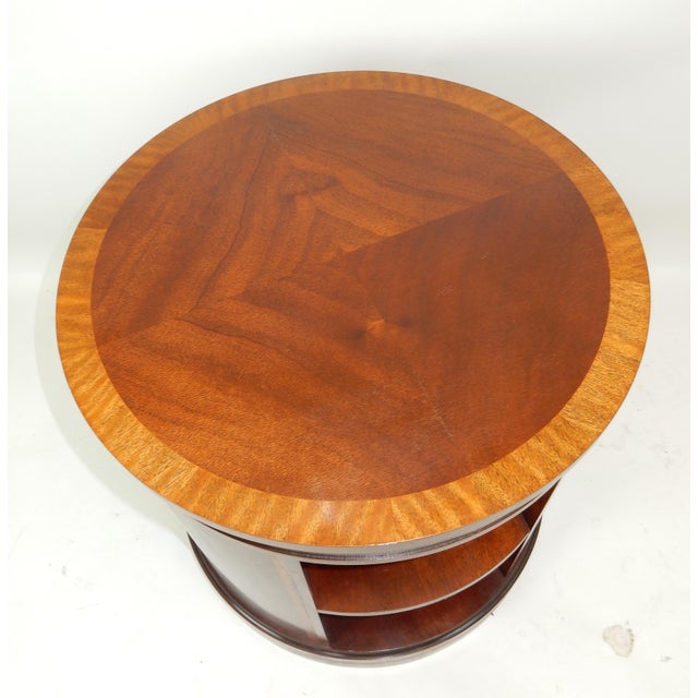 Baker Furniture Company Baker Furniture Inlaid Banded Mahogany Drum Shaped Book Case For Sale - Image 4 of 13