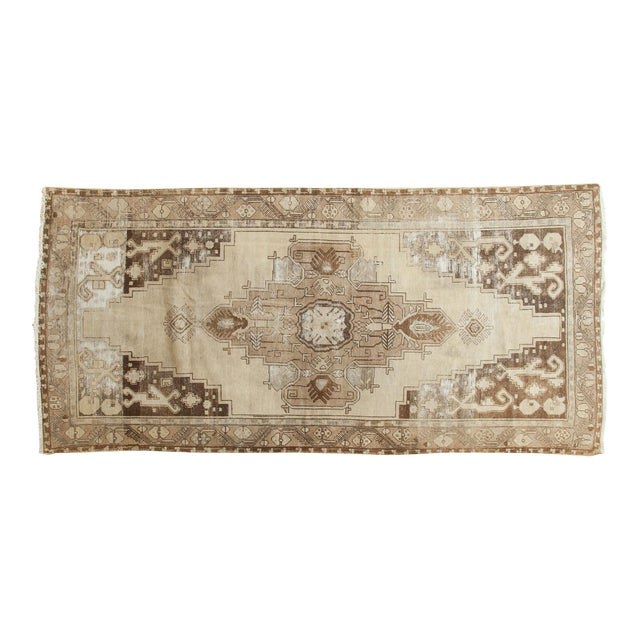 "Vintage Distressed Oushak Rug Runner - 4'9"" x 10'2"" For Sale"