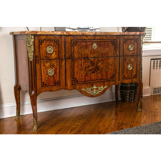 French 19th Century French Marquetry Commode For Sale - Image 3 of 10