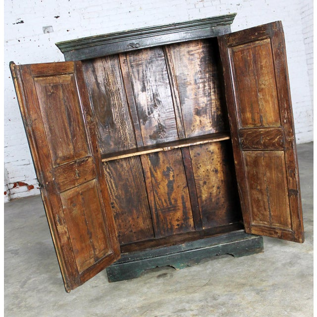 Rustic Primitive Cupboard Storage Cabinet with Distressed Paint For Sale - Image 5 of 11