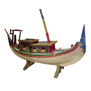 Decorative Vintage Children's Wood Boat with Stand For Sale