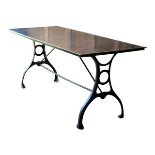 Antique Industrial Steel and Brass Cartographers Cast Iron Work Table For Sale