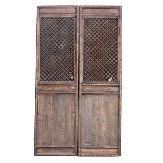 Elm Rustic Chinese Lattice Panels Set of 2 For Sale - Image 7 of 7