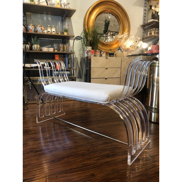 Gold Vintage Hill Manufacturing Lucite Bench For Sale - Image 8 of 8