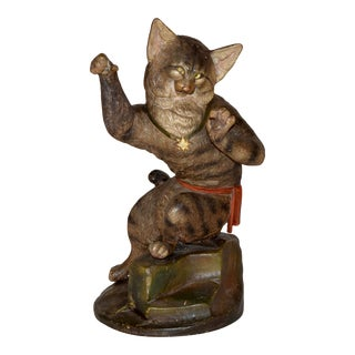 19th C Austrian Terracotta Cat For Sale
