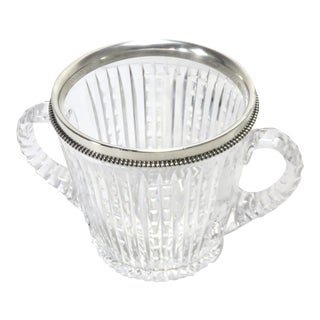 Antique Hand Cut Crystal & Sterling Silver Ice Bucket For Sale