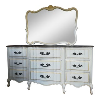 Scalloped French Provincial Dresser With Mirror - A Pair
