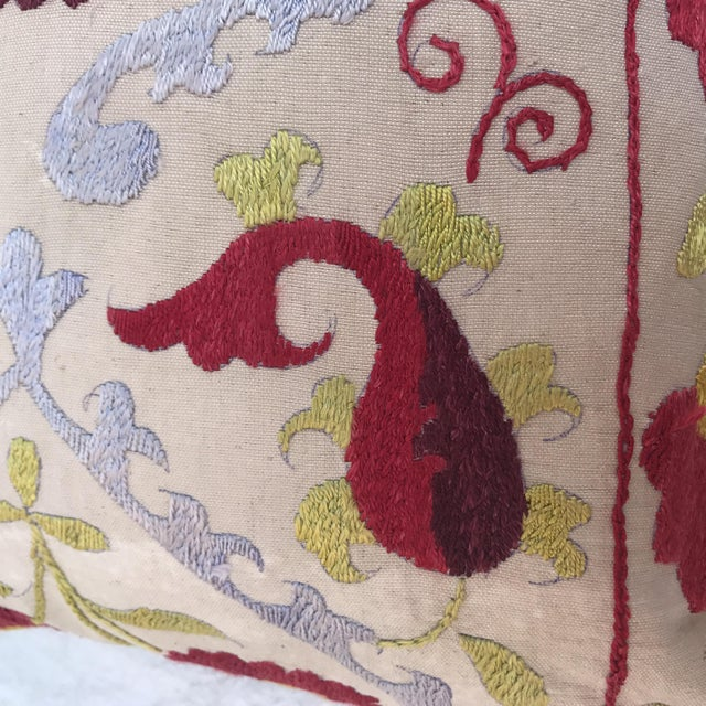 Antique Embroidered Suzani Pillow For Sale - Image 10 of 11