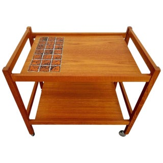 Teak Bar Cart With Ceramic Tile For Sale