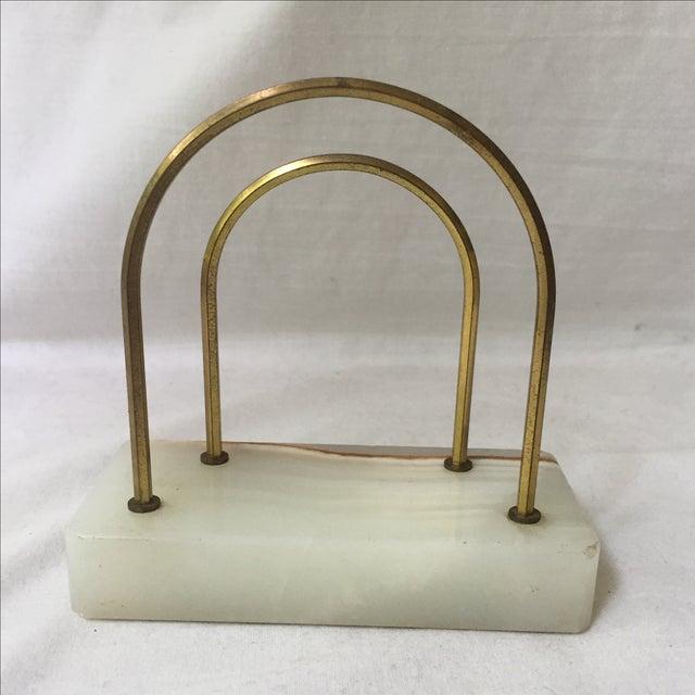 Vintage Onyx & Brass Mail Organizer - Image 6 of 6