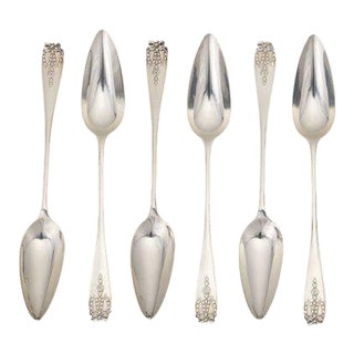 1927 Antique Mappin & Webb English Sterling Silver Citrius Spoons in Presentation Box - Set of 6 For Sale