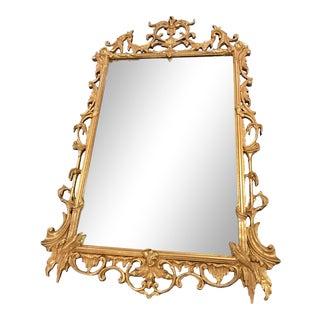 Large Vintage 1940s Gold Framed Mirror For Sale