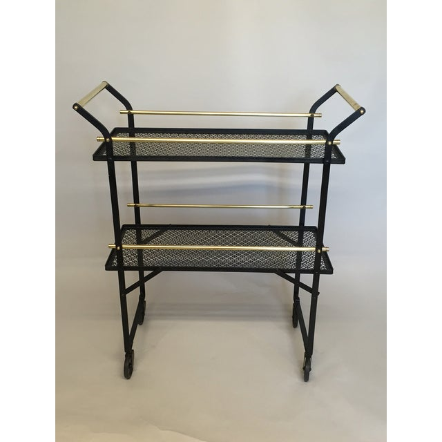 Smart French Black Metal and Brass Bar Cart - Image 2 of 4