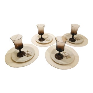 Vintage White Brown Floral China Table Setting and Goblets - Service for 4 For Sale