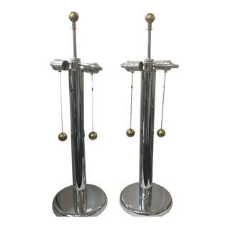 1970s Chrome Lamps With Brass Ball Pulls and Finials - a Pair For Sale