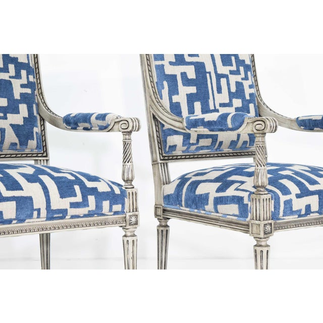 Wood Louis XVI Style Lounge Chairs in Blue/Taupe - a Pair For Sale - Image 7 of 11