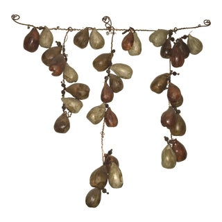 """Ceramic and Copper Hanging Wall Sculpture Signed """"Muddy Rain"""" For Sale"""