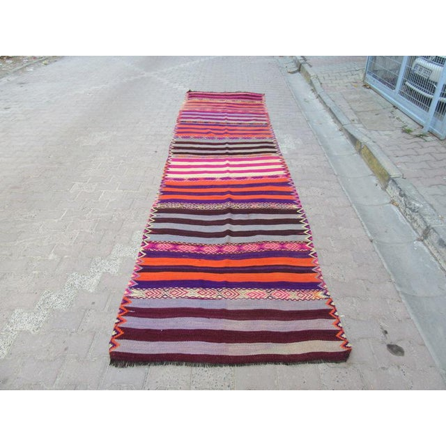 Handwoven Vintage Kilim rug from Marash region of Turkey. Approximately 45-55 years old.In very good condition.