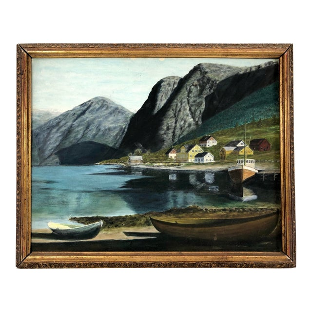 Framed Oil on Board ofSeaside Village With Boats, Signed Jh For Sale