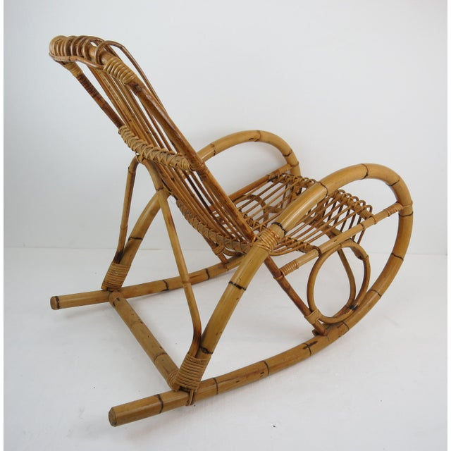 Franco Albini Vintage Franco Albini Style Bamboo Rocking Chair For Sale - Image 4 of 13