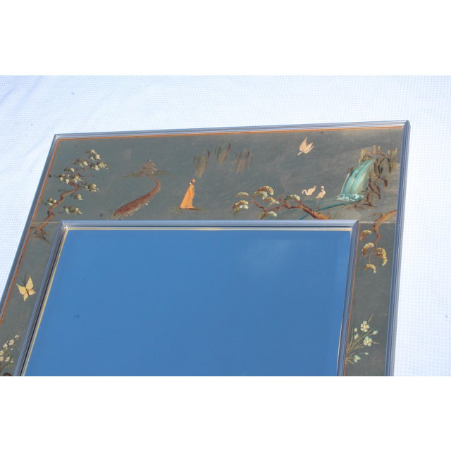 La Barge Mid-Century Modern Hand Painted Chinoiserie Mirror For Sale In New York - Image 6 of 11