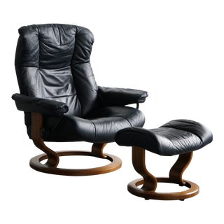 Ekornes Blue Leather Lounge Chair and Ottoman For Sale
