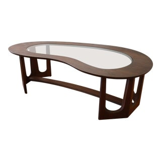 Bassett Mid-Century Boomerang Walnut and Glass Coffee Table For Sale