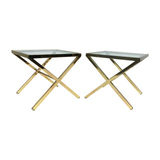 1980's Modern X Base Side Tables - a Pair