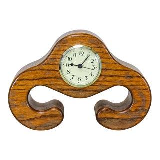 Mid Century Oak Table Clock For Sale