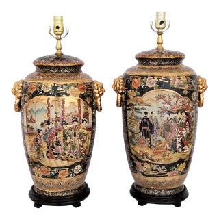 Chinese Export Ceramic Porcelain Lamps - A Pair