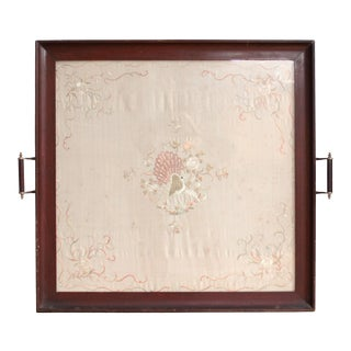 Victorian Embroidered Handkerchief Tray For Sale