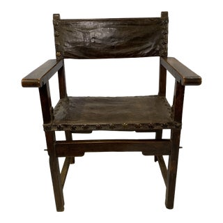 18th-C. Spanish Leather Chair For Sale