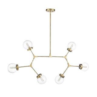 Stellar 6 Light Chandelier, Antique Brass For Sale