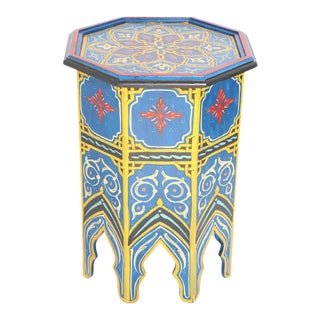 Moroccan Hand Painted Blue Side Table For Sale