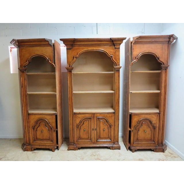 Vintage Italian Monumental 3 Piece Custom Bookcase China Cabinet Hutch For Sale In Philadelphia - Image 6 of 10